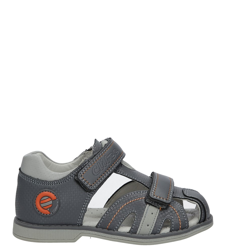 Szare sandały na rzep Casu Z-284