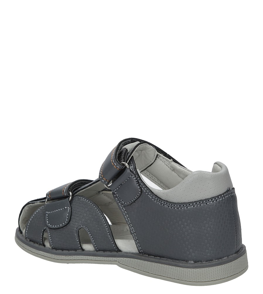 Szare sandały na rzep Casu Z-284 kolor szary