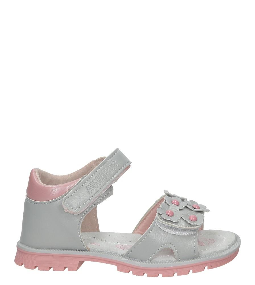 Szare sandały na rzep z kwiatkami Casu B858
