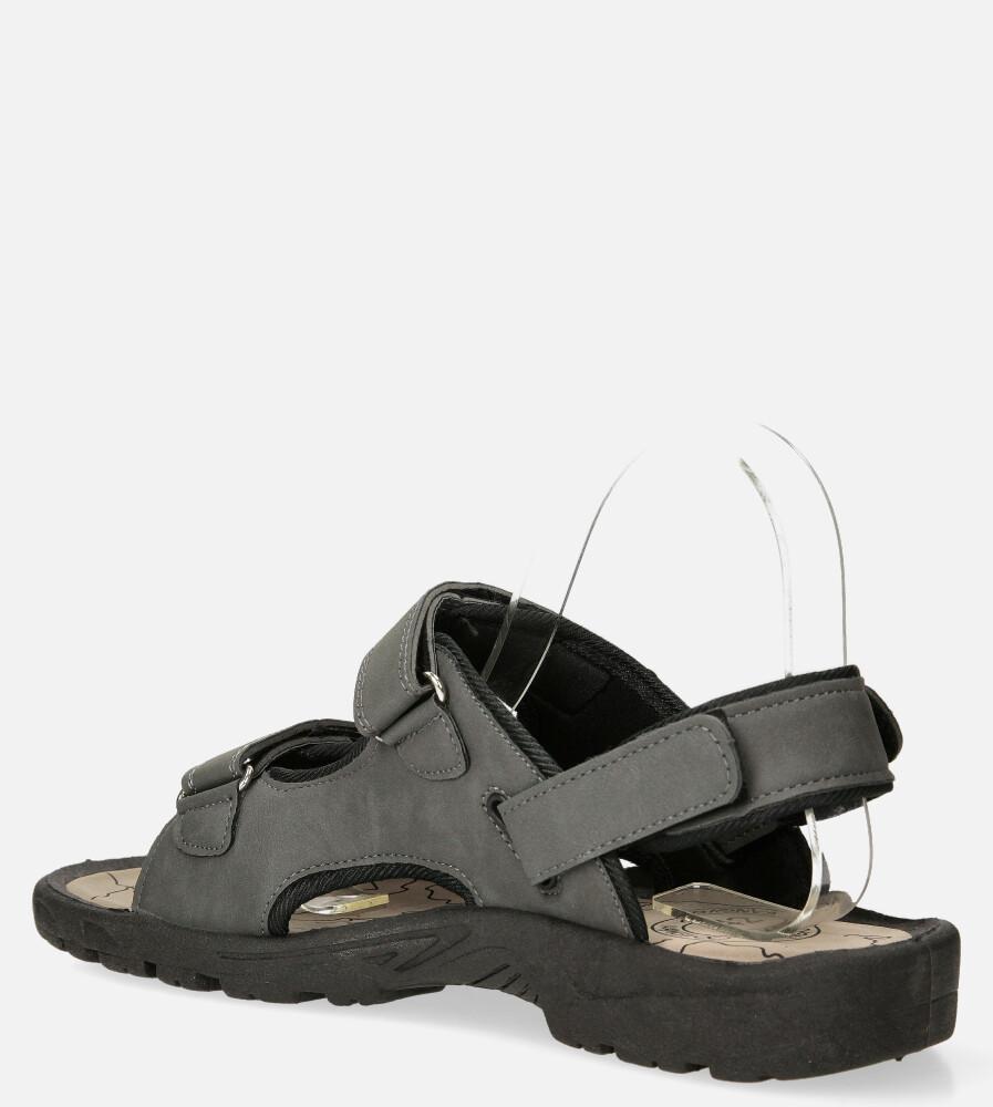 Szare sandały na rzepy Casu B-67 sezon Lato