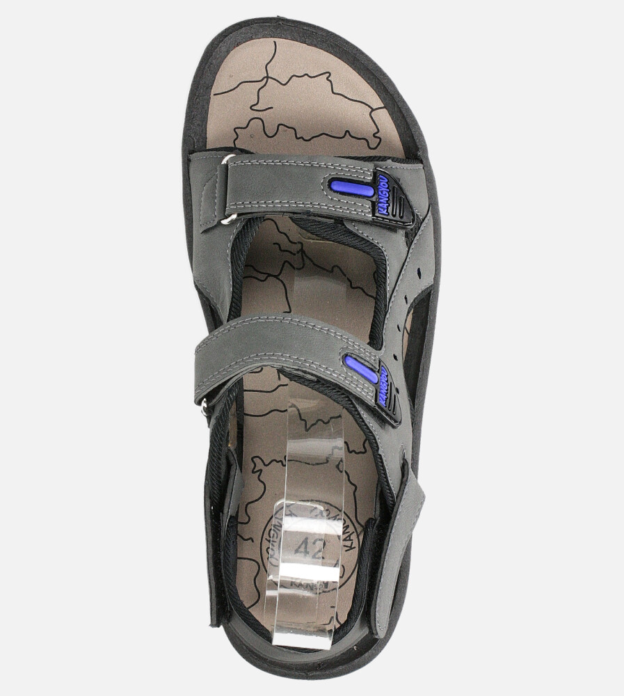 Szare sandały na rzepy Casu B-67 kolor szary