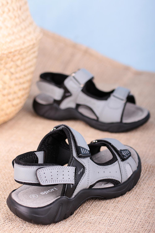 Szare sandały na rzepy Casu B5512-2