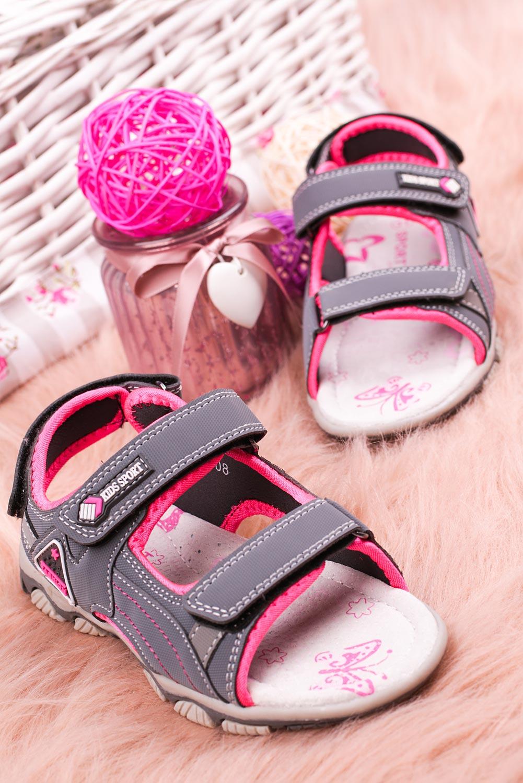Szare sandały na rzepy Casu CS9008 szary