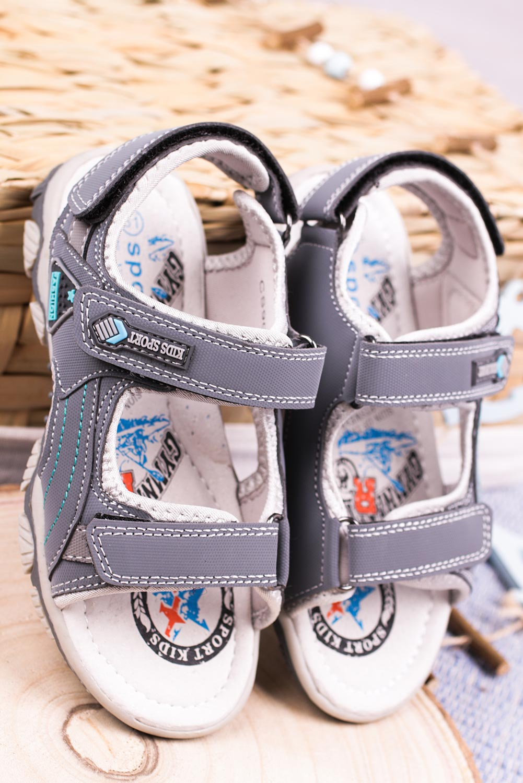 Szare sandały na rzepy Casu CS9008