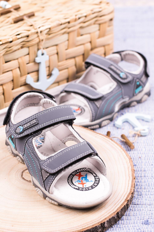 Szare sandały na rzepy Casu CS9008 kolor szary