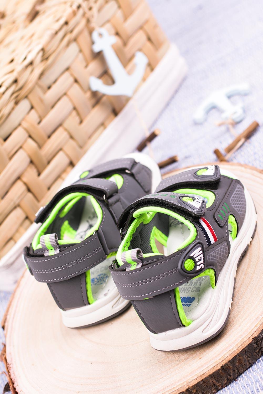 Szare sandały na rzepy Casu F05
