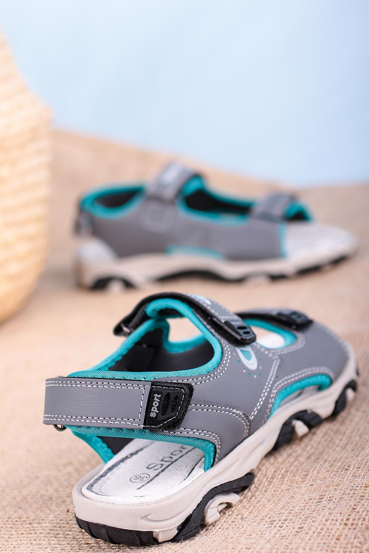 Szare sandały na rzepy Casu H6904 szary