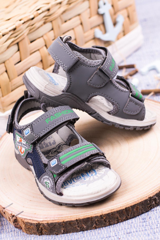 Szare sandały na rzepy Casu JF01 szary