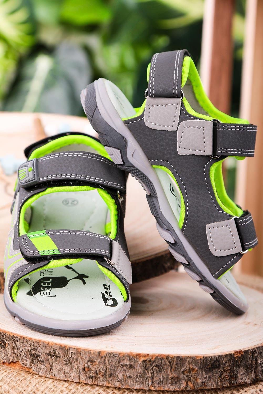 Szare sandały na rzepy Casu JF06