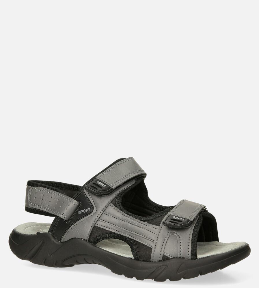 Szare sandały na rzepy Casu M5515-3 ciemny szary