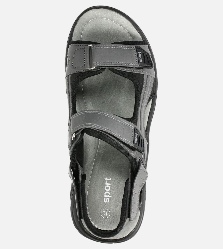 Szare sandały na rzepy Casu M5515-3 kolor ciemny szary