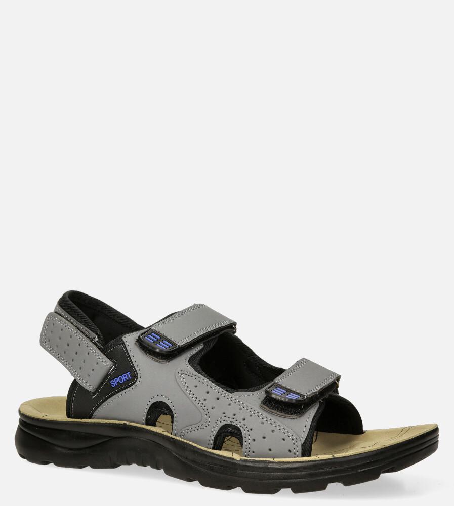 Szare sandały na rzepy Casu M90072 producent Casu