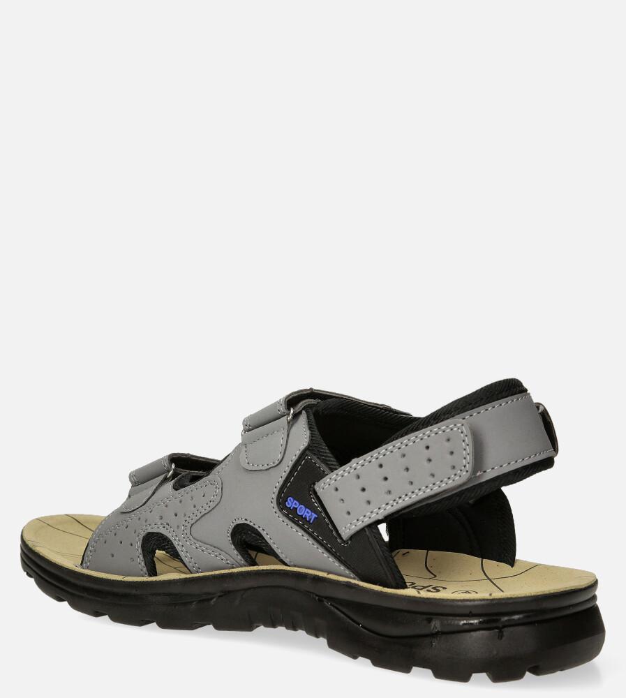 Szare sandały na rzepy Casu M90072 sezon Lato