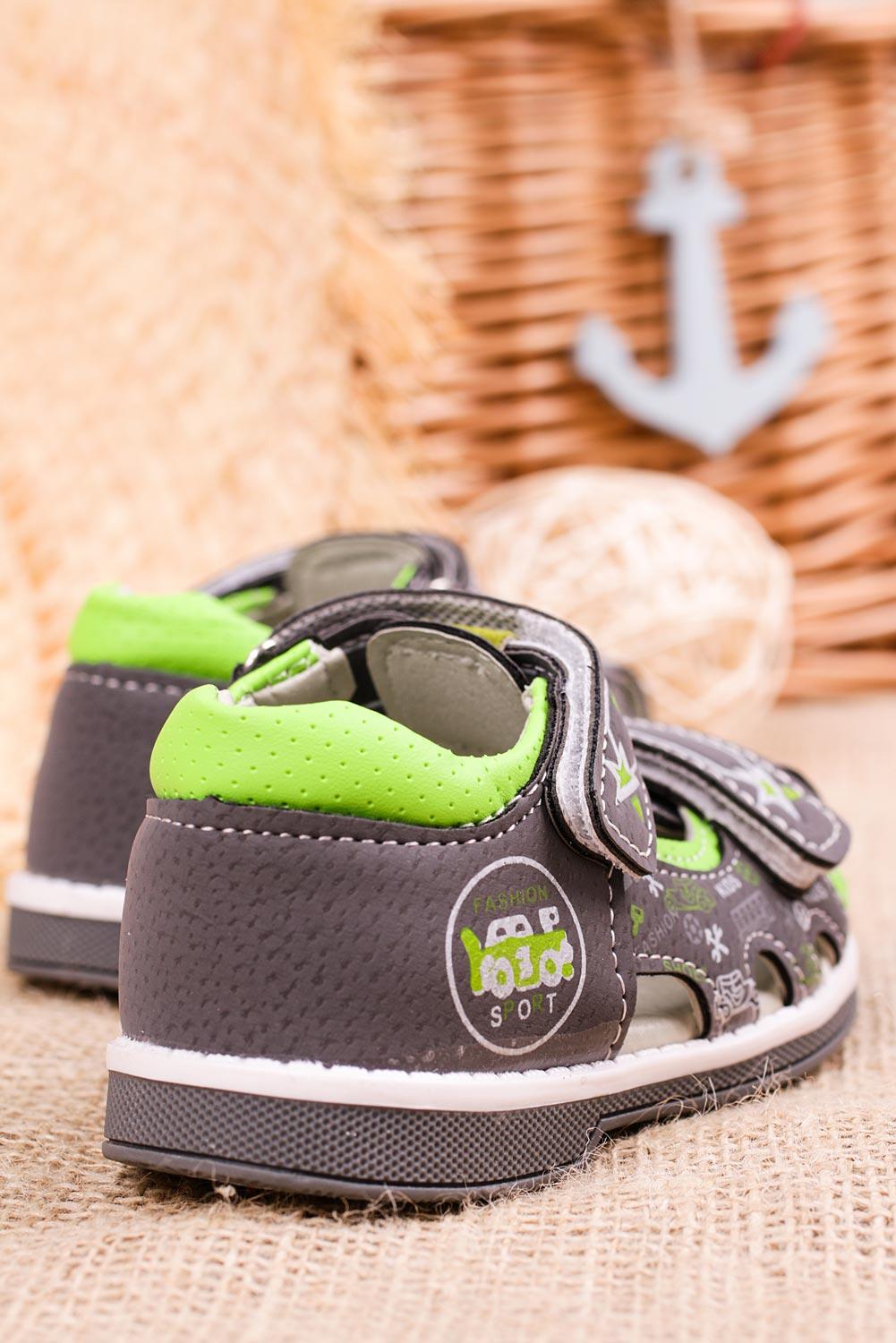 Szare sandały na rzepy Casu T17B szary