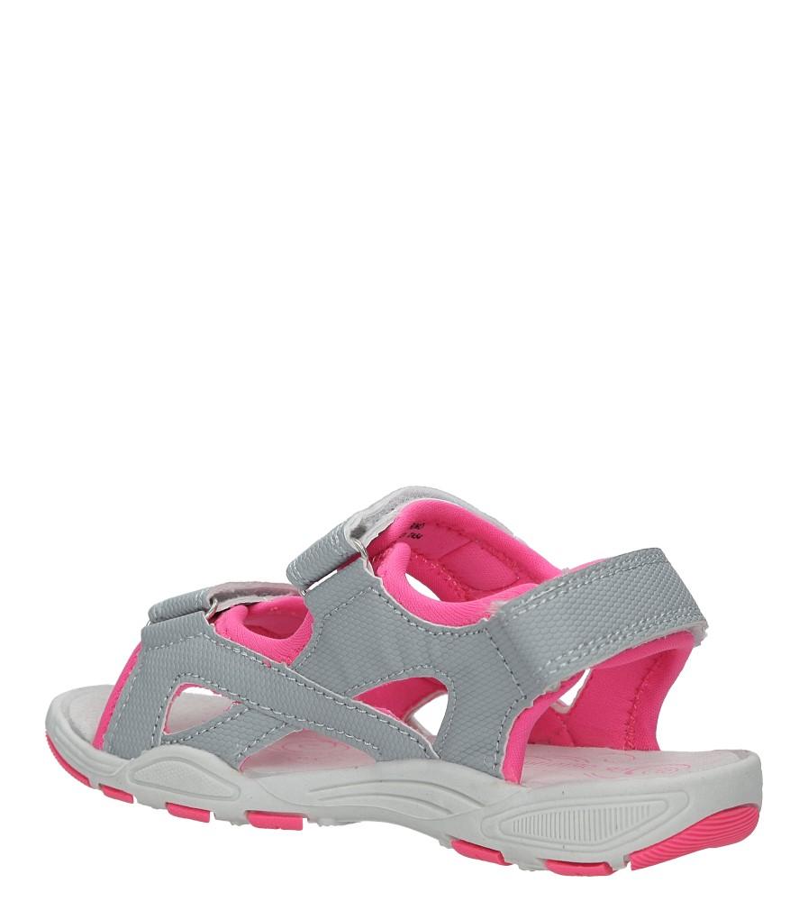 Szare sandały na rzepy Casu TA54 kolor jasny szary, różowy