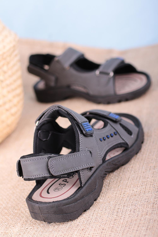 Szare sandały na rzepy Casu W2212 szary