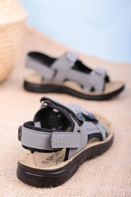 Szare sandały na rzepy Casu W90071 szary