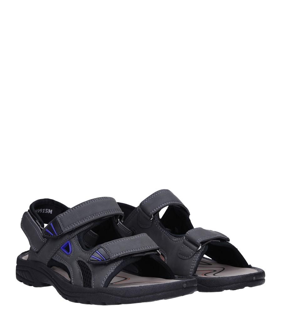 Szare sandały na rzepy Casu XH9915M kolor szary