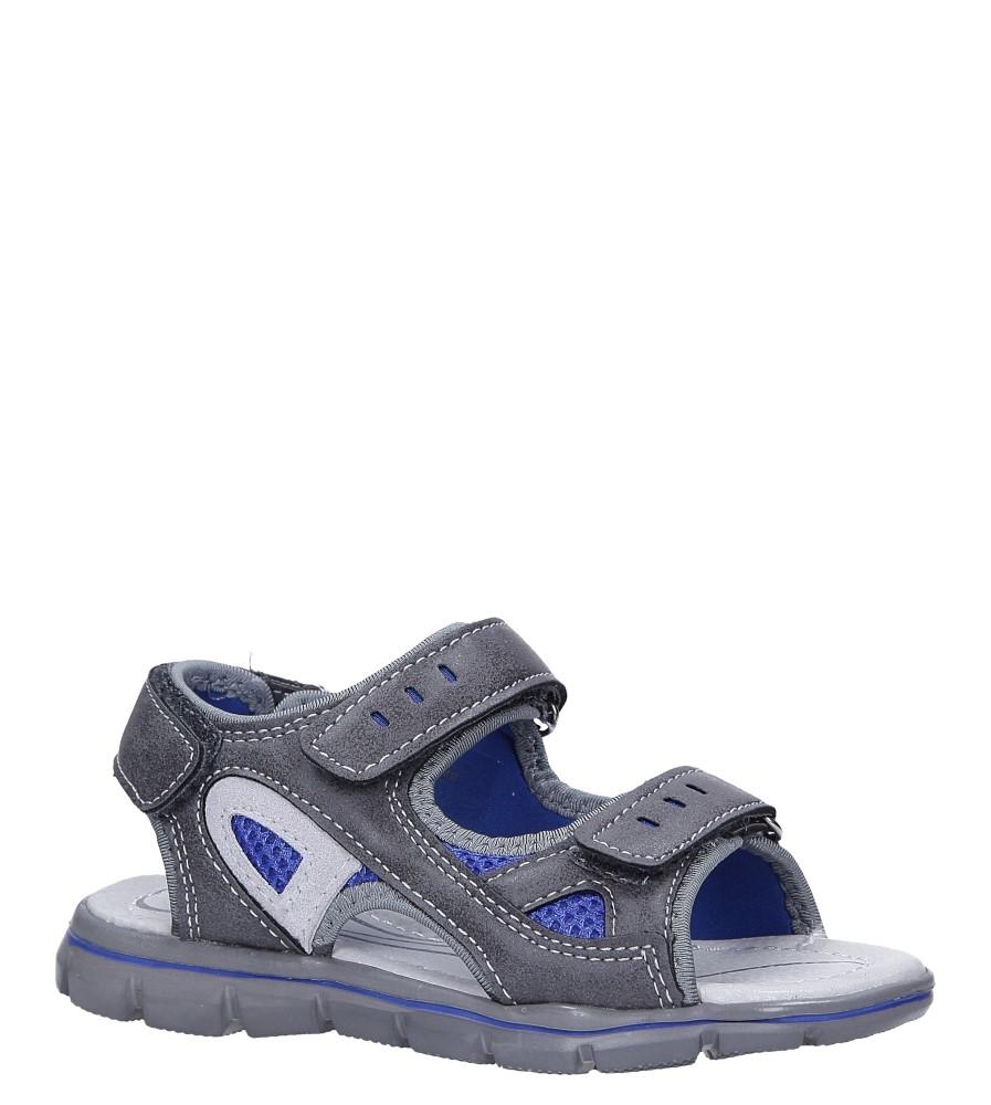 Szare sandały na rzepy ze skórzaną wkładką Casu N827MR
