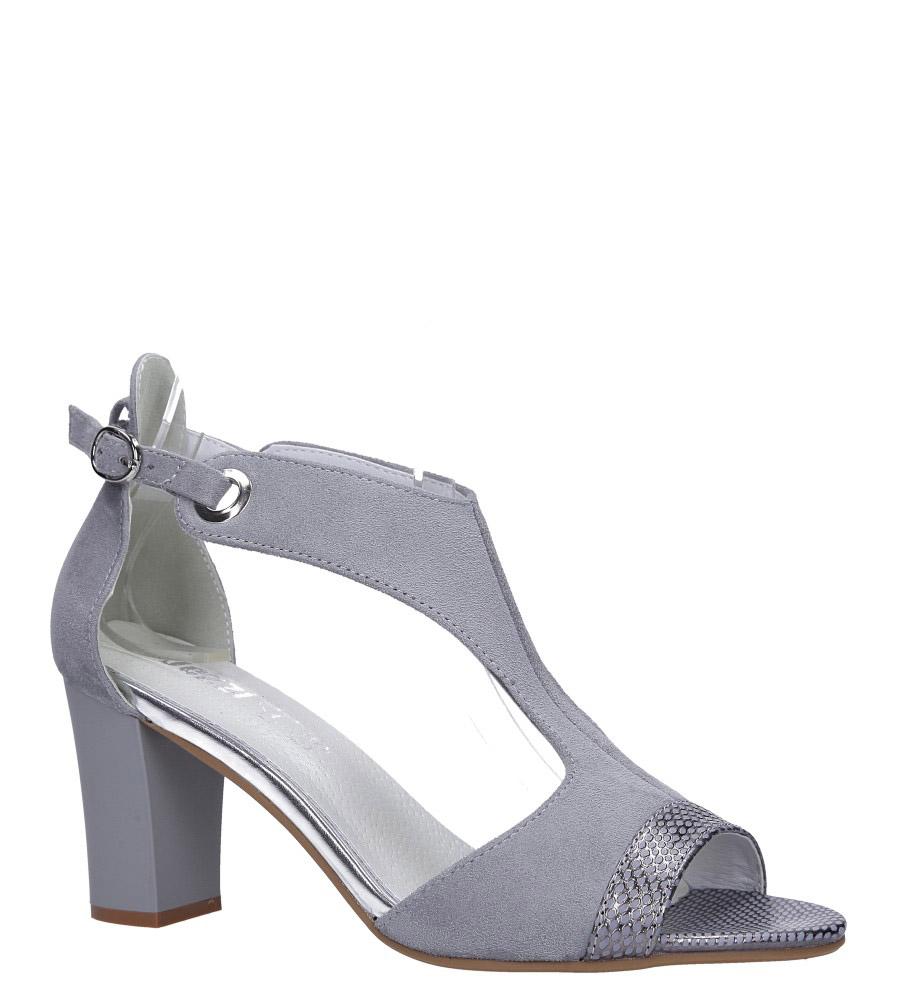 Szare sandały na słupku z paskiem przez środek ze skórzaną wkładką Jezzi ASA150-8