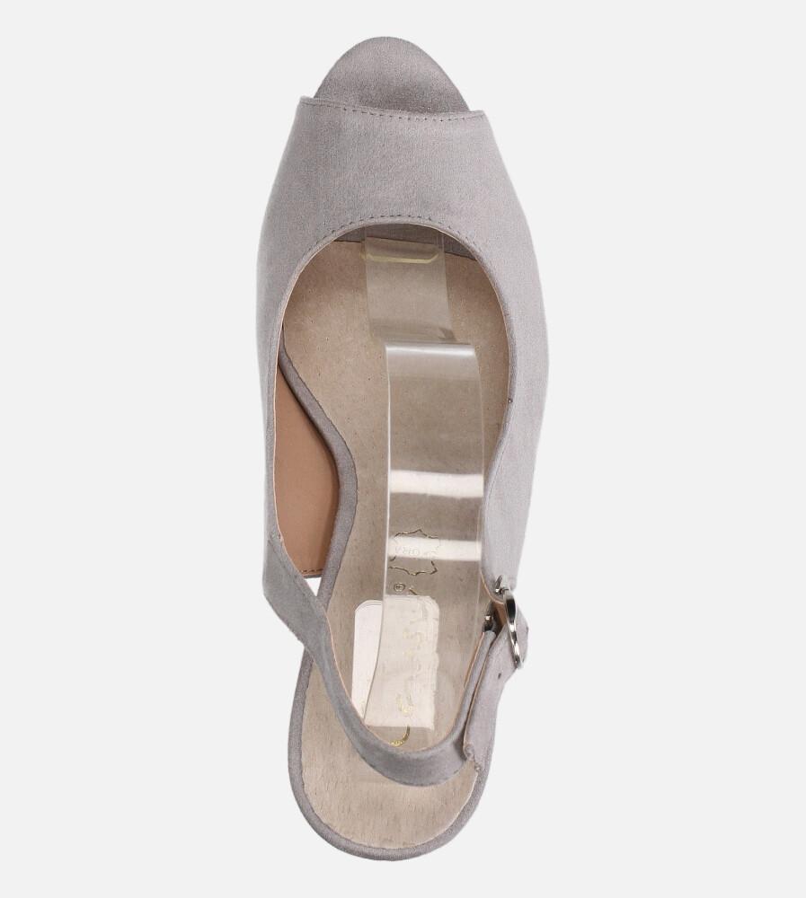 Szare sandały na słupku ze skórzaną wkładką Casu N20X4/G kolor szary