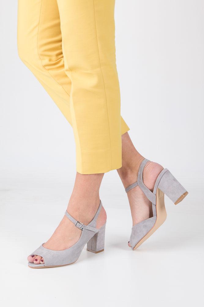 Szare sandały na obcasie szerokim Sergio Leone SK808-03M