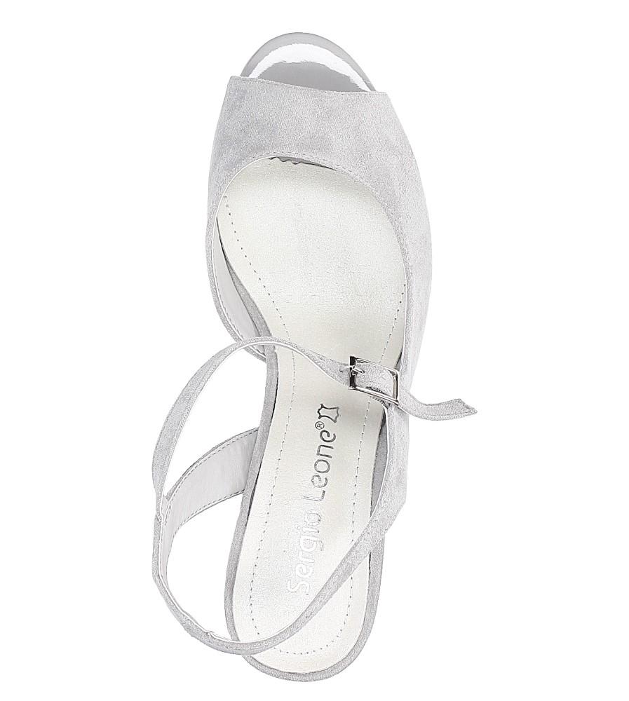 Szare sandały na szerokim obcasie Sergio Leone SK808-03M wys_calkowita_buta 14 cm