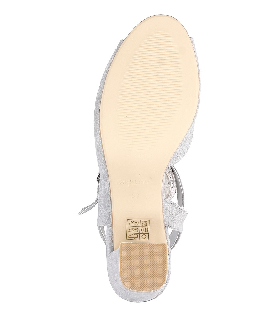 Szare sandały na szerokim obcasie Sergio Leone SK808-03M wierzch zamsz ekologiczny