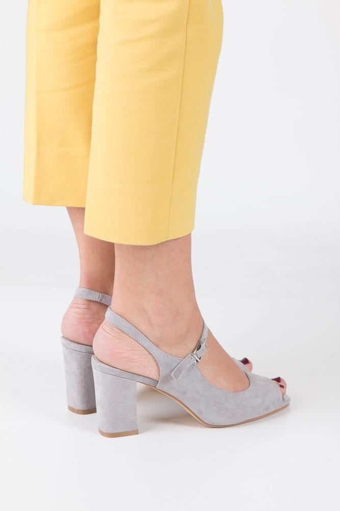 Szare sandały na szerokim obcasie Sergio Leone SK808-03M wnetrze skóra ekologiczna