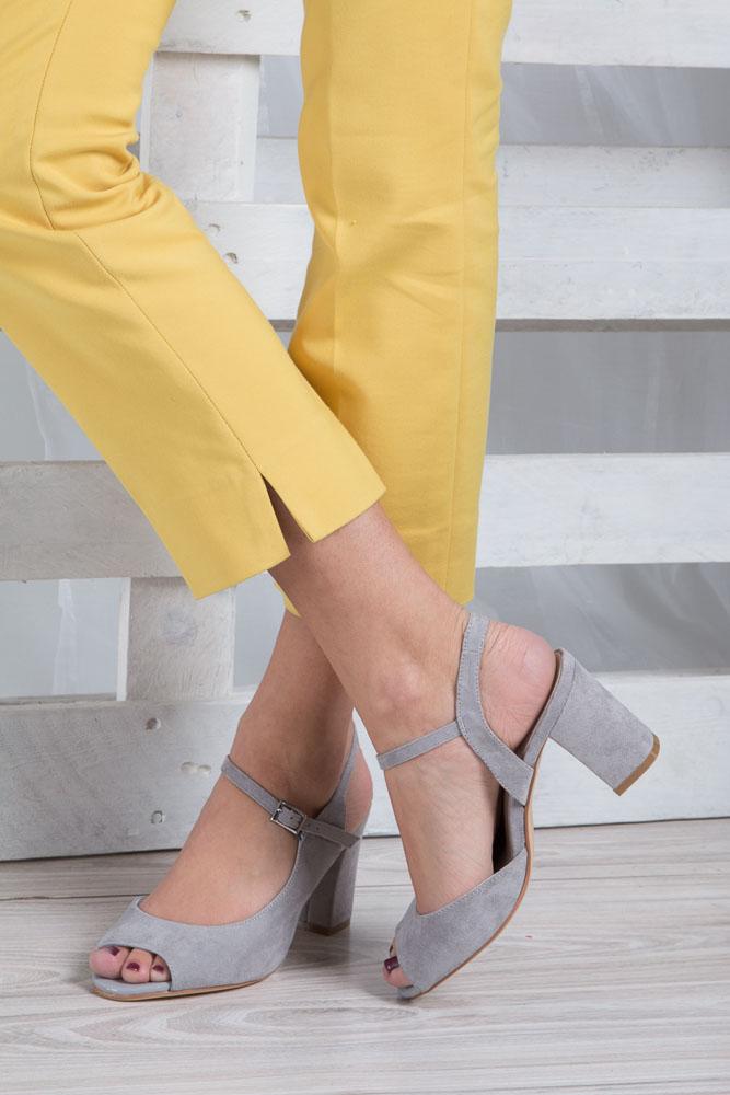 Szare sandały na szerokim obcasie Sergio Leone SK808-03M wkladka skóra