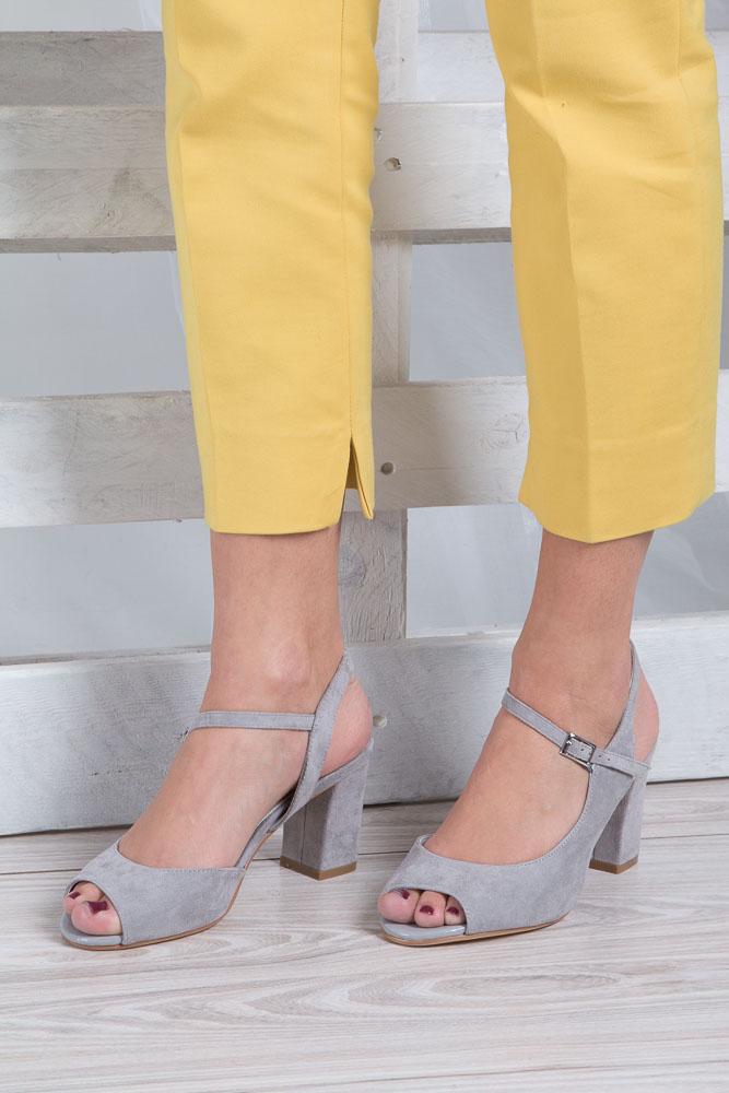 Szare sandały na szerokim obcasie Sergio Leone SK808-03M material_obcasa pokryty zamszem ekologicznym