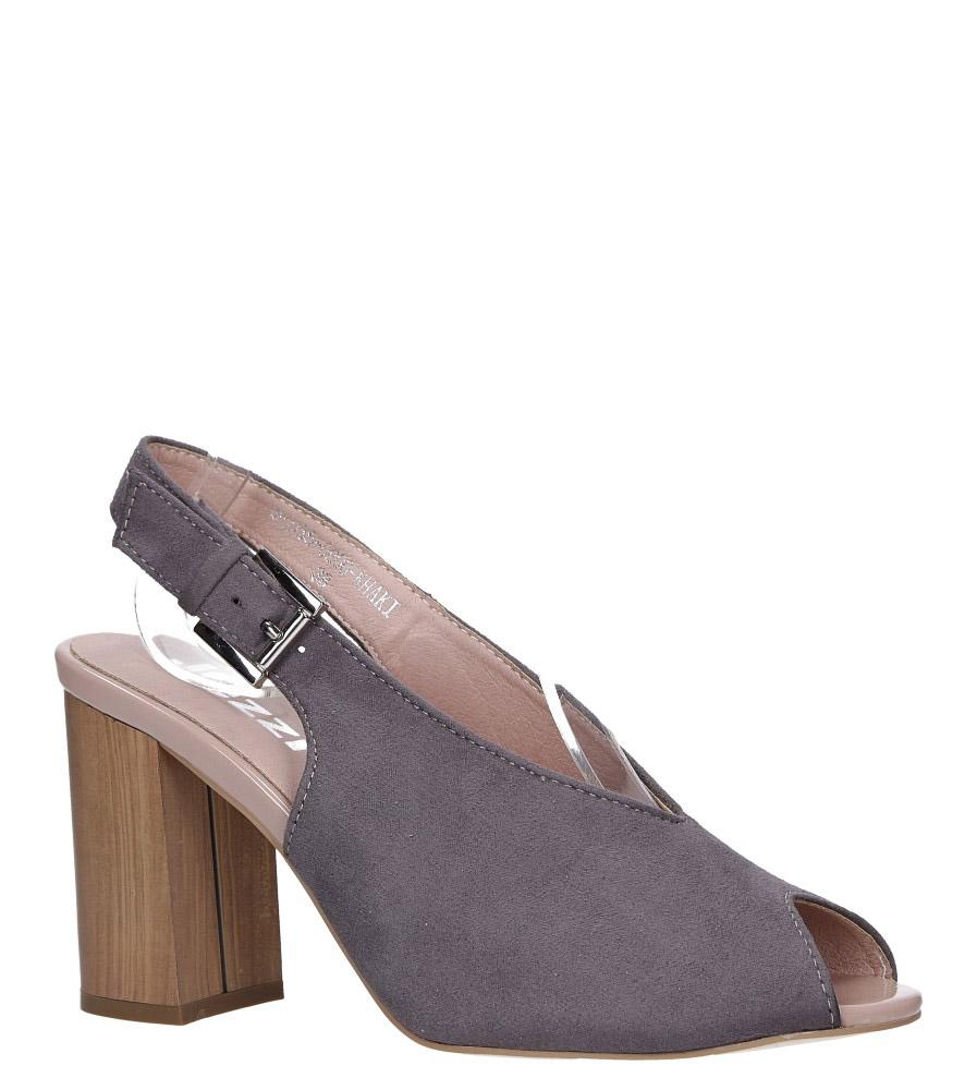 Szare sandały na słupku peep toe Jezzi 9SD35-0800