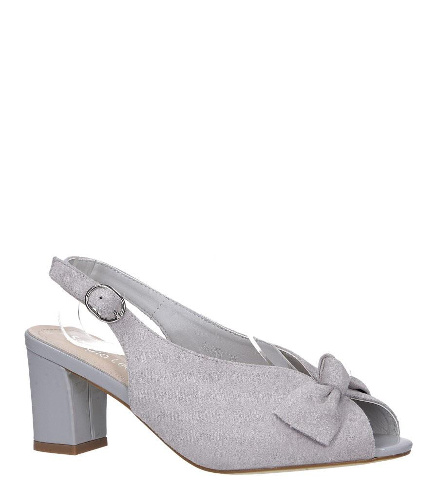 Szare sandały peep toe z kokardką na słupku Sergio Leone SK801