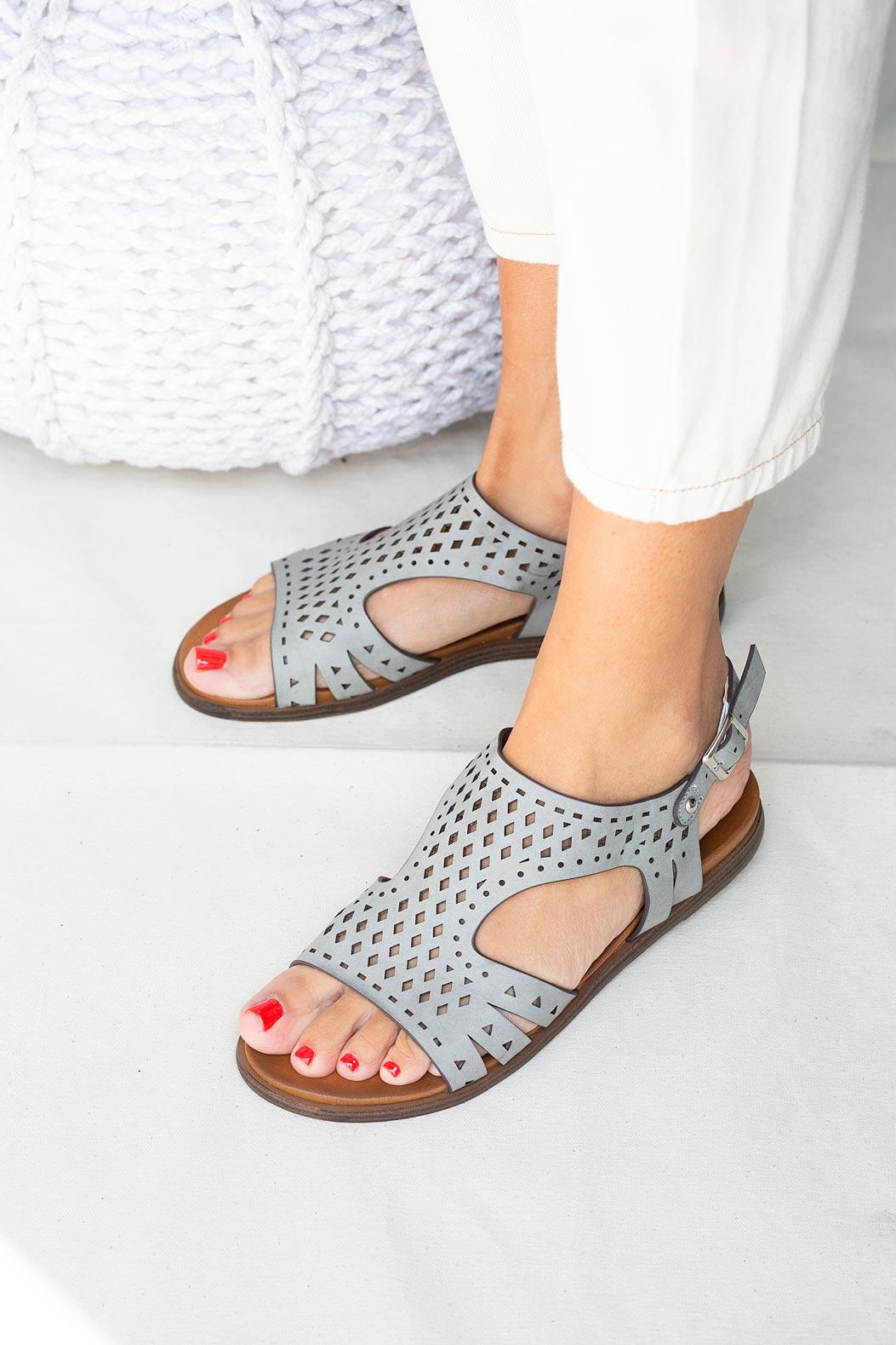 Szare sandały płaskie ażurowe Casu K20X1/G producent Casu