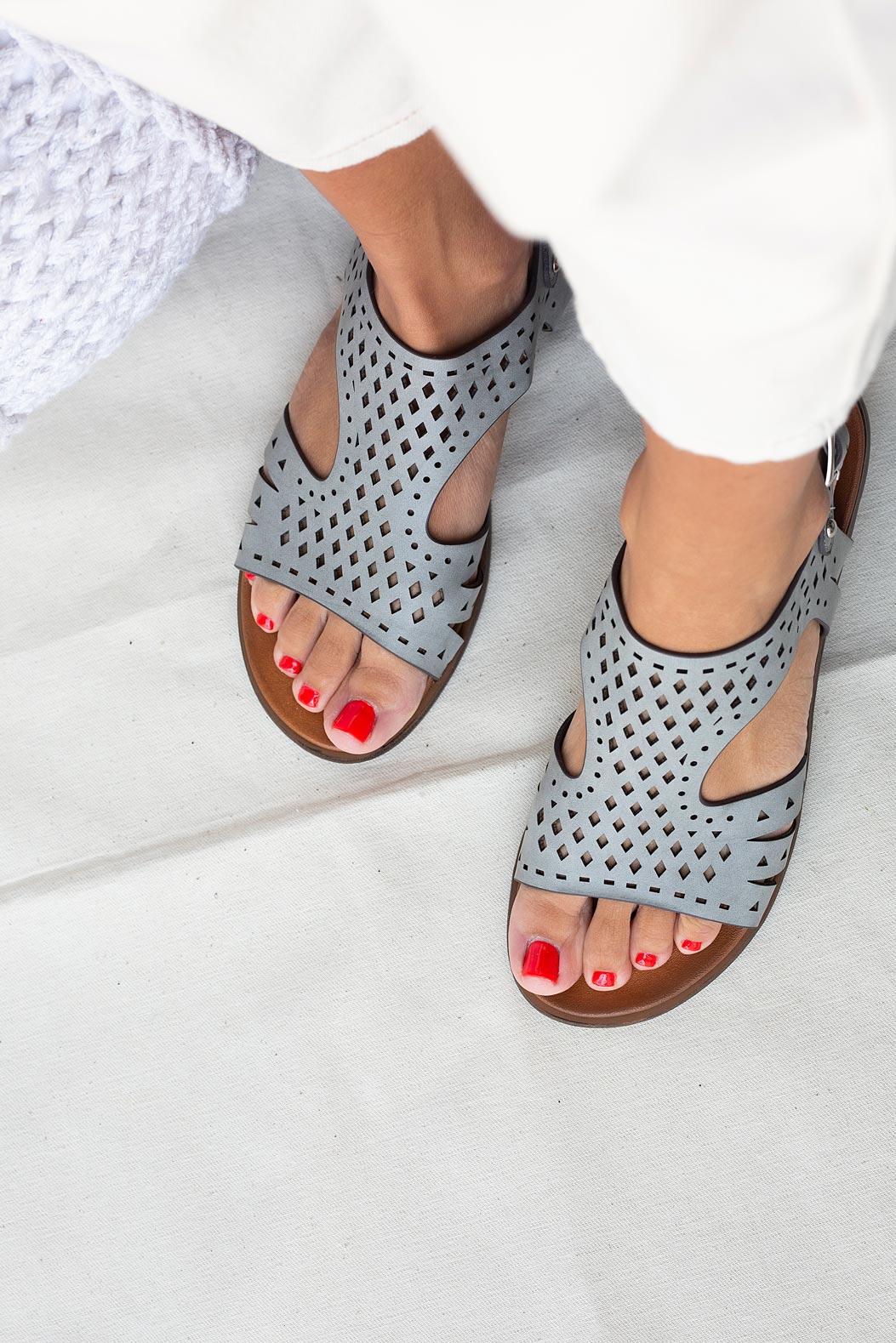 Szare sandały płaskie ażurowe Casu K20X1/G model K20X1/G