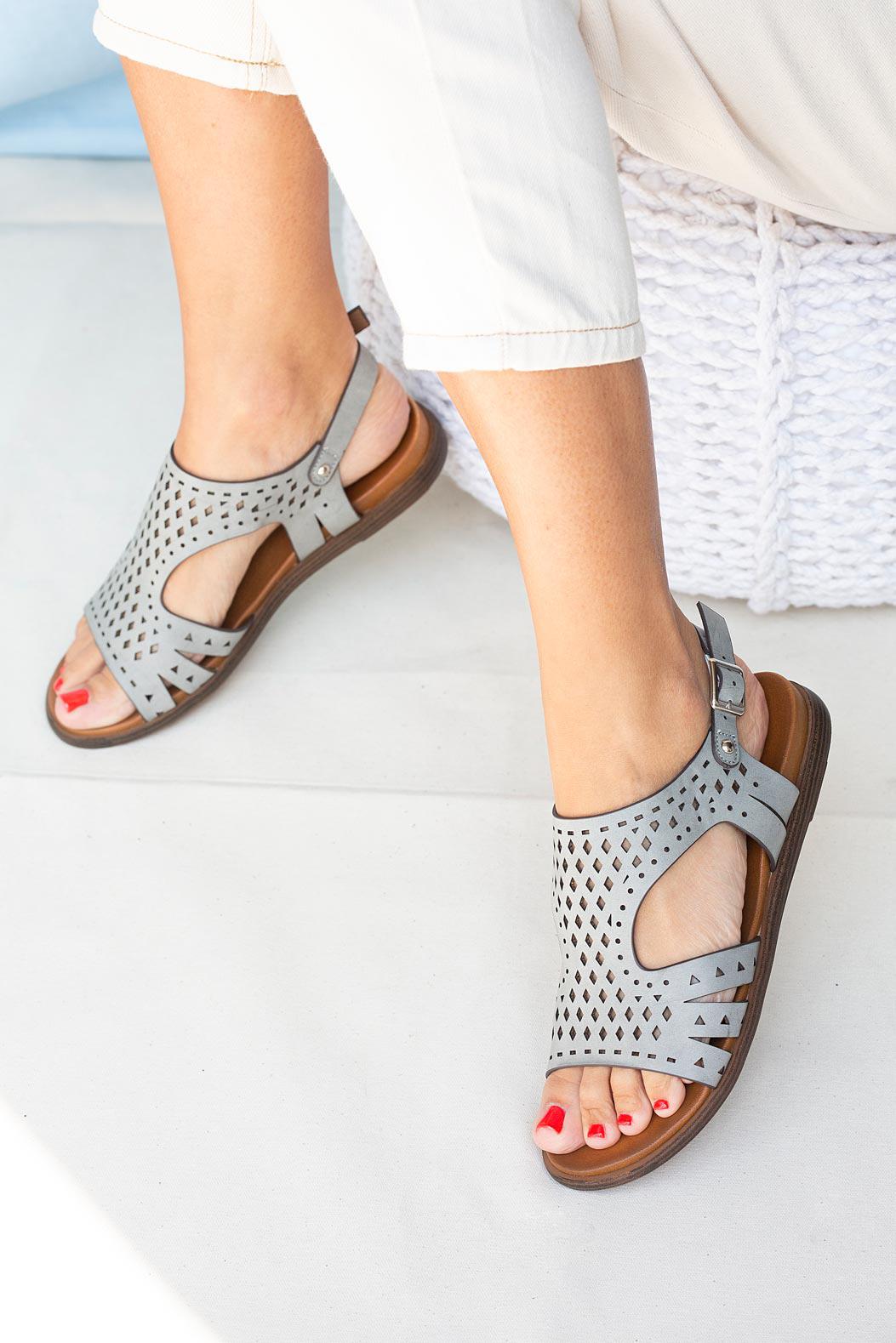 Szare sandały płaskie ażurowe Casu K20X1/G sezon Lato