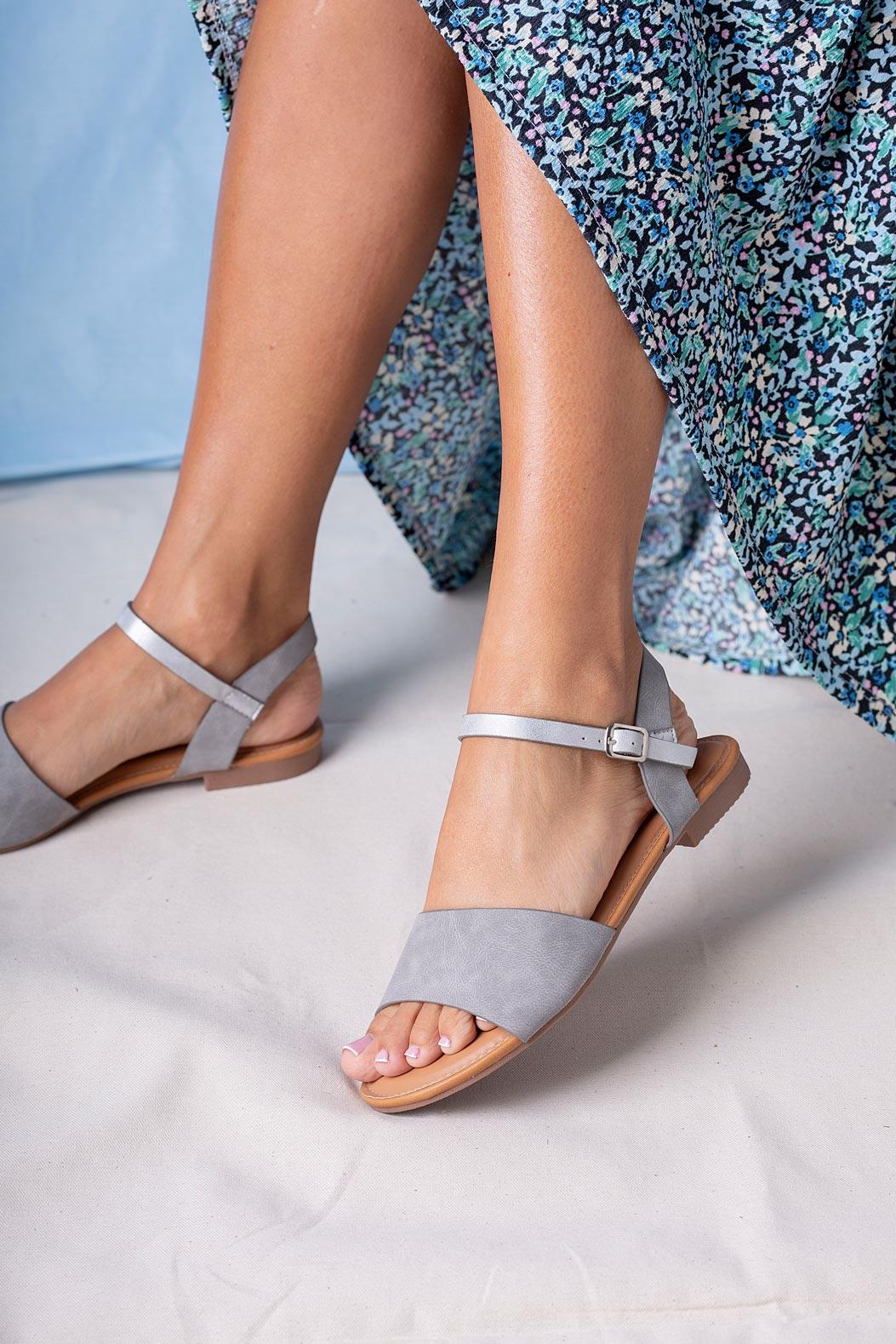 Szare sandały płaskie Casu RT20X1/G szary