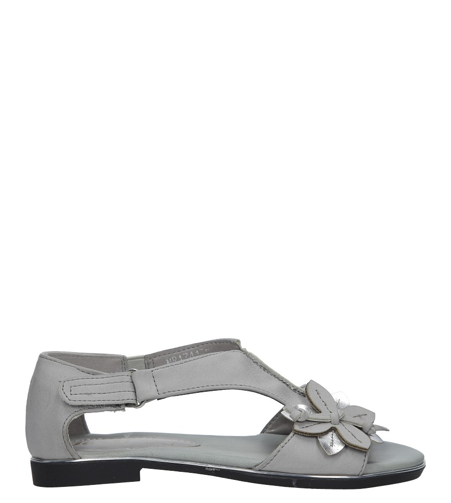 Szare sandały płaskie na rzep z zakrytą piętą Jezzi MR1741-5