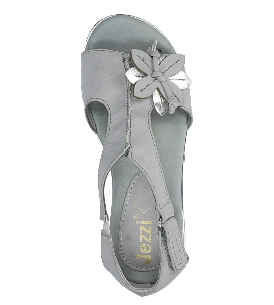 Szare sandały płaskie na rzep z zakrytą piętą Jezzi MR1741-5 wysokosc_obcasa 1.5 cm