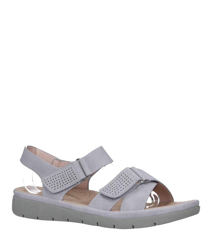 Szare sandały płaskie na rzepy paski na krzyż Casu W19X8/G