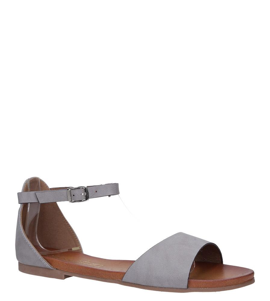 Szare sandały płaskie z zakrytą piętą i paskiem wokół kostki Casu K19X16/G