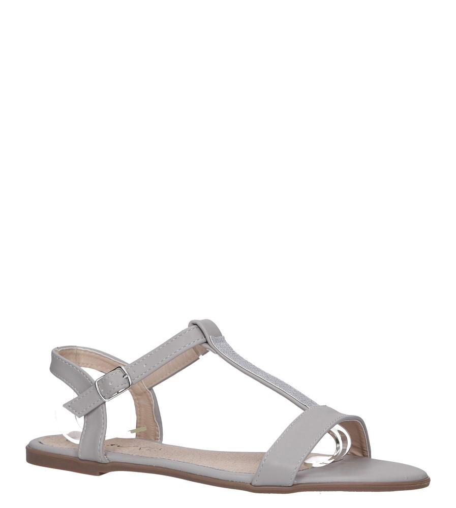 Szare sandały płaskie ze skórzaną wkładką brokatowy pasek Casu S19X2/G