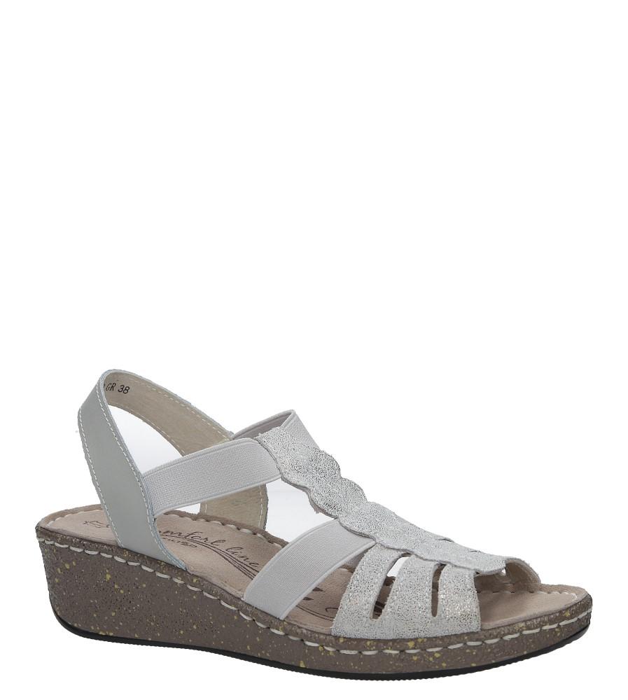 Szare sandały skórzane na koturnie Casu DS056/18GR