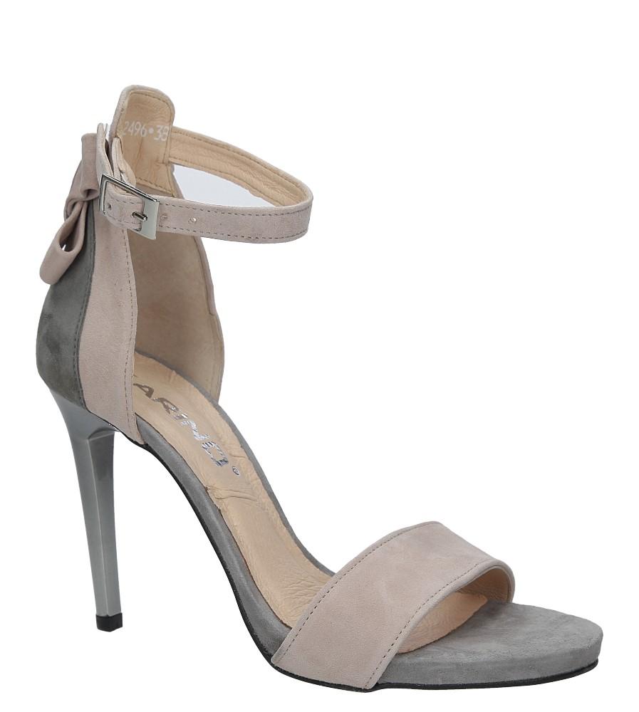 Szare sandały szpilki skórzane z kokardą Karino 2496/083-P szary