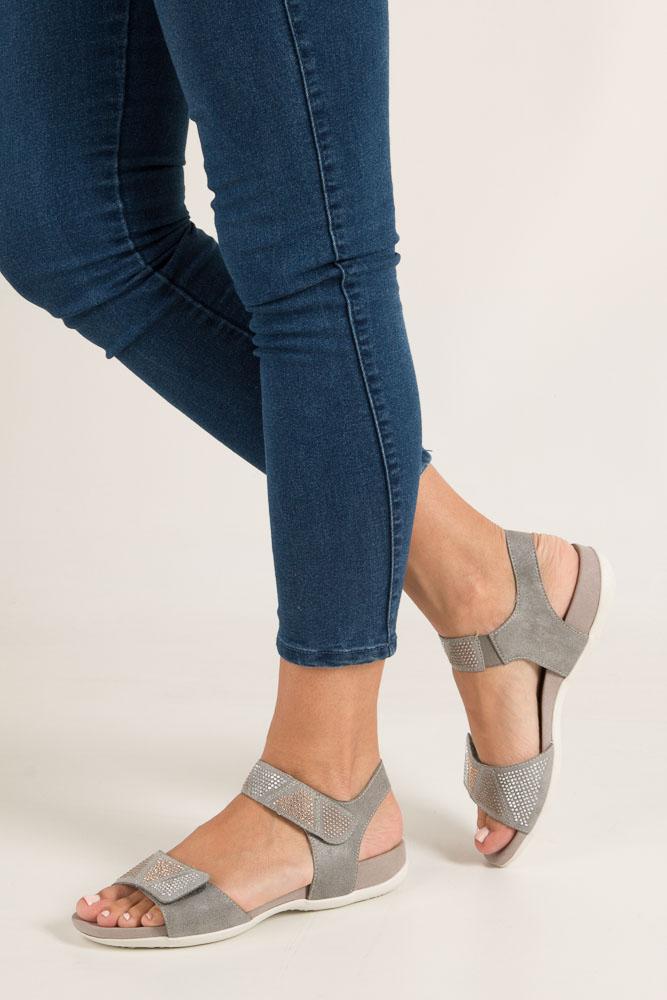 Szare sandały z nitami na rzep Rieker K2269-42