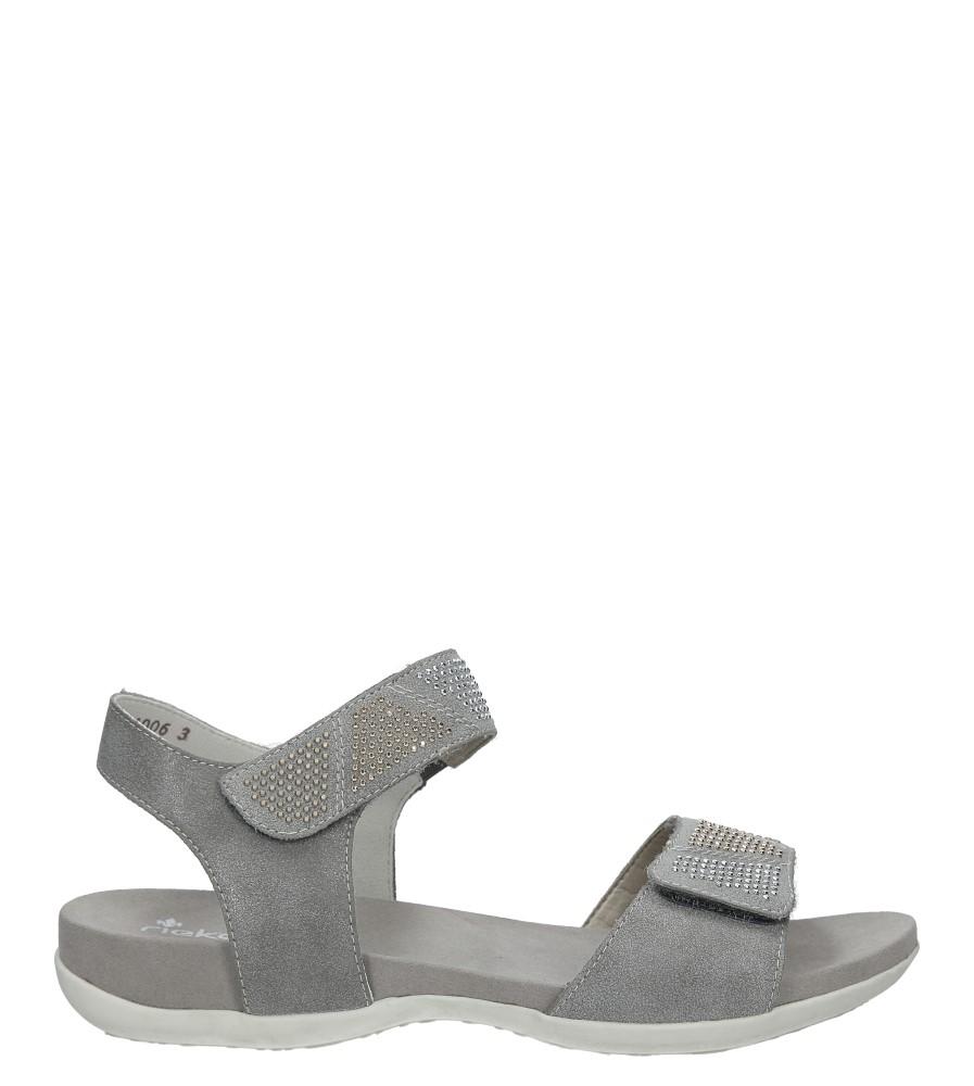 Szare sandały z nitami na rzep Rieker K2269-42 sezon Lato