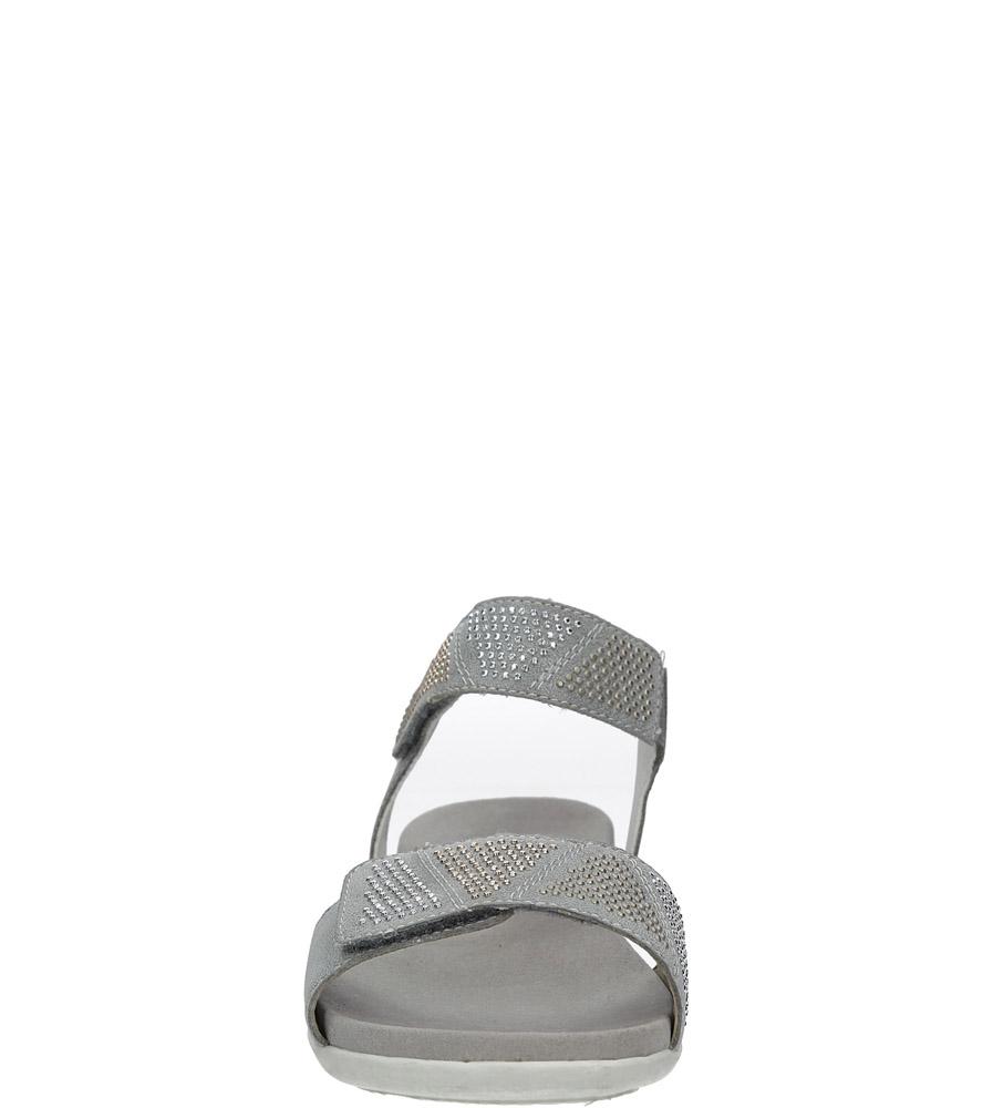 Szare sandały z nitami na rzep Rieker K2269-42 style Dżety/Nity/Ćwieki