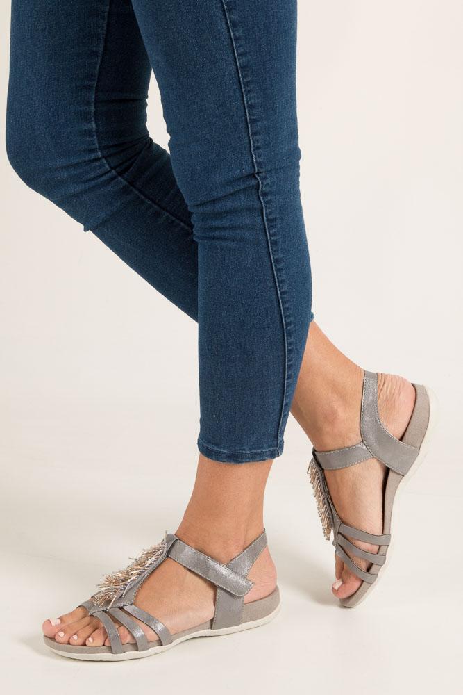 Szare sandały z ozdobami na rzep Rieker K2254-42
