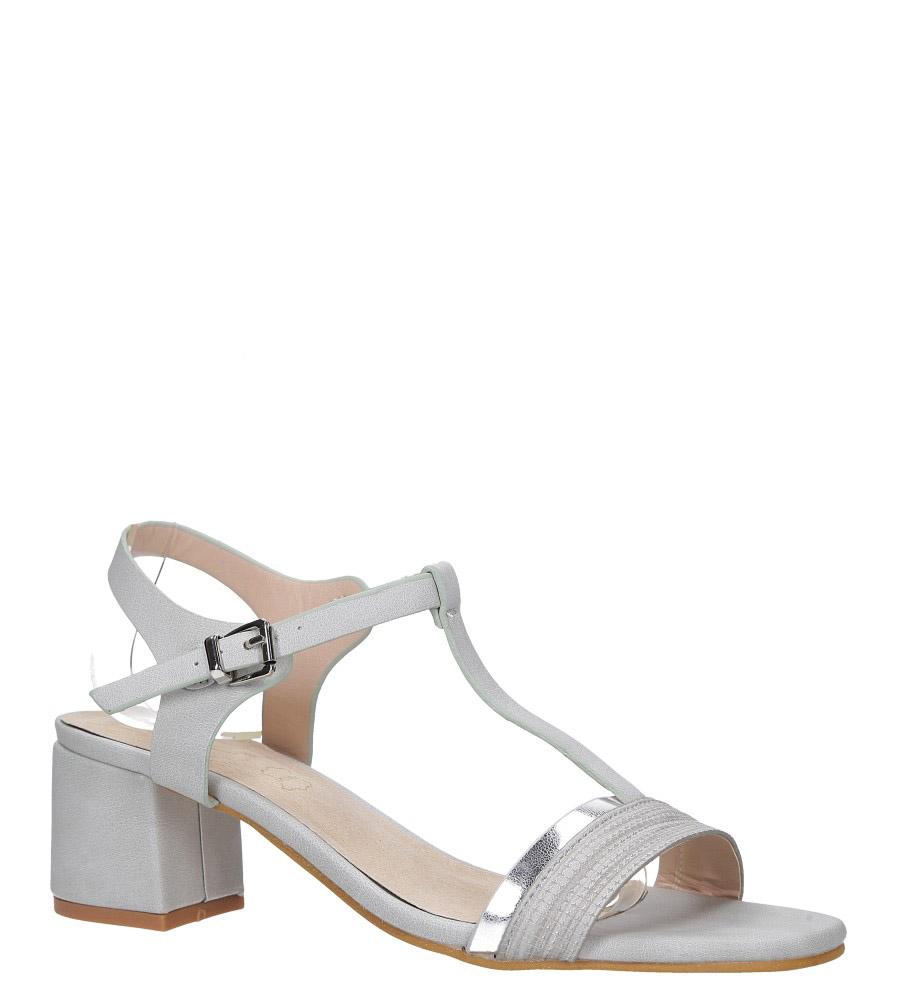 Szare sandały z paskiem przez środek na niskim obcasie skórzana wkładka Casu E19X3/G