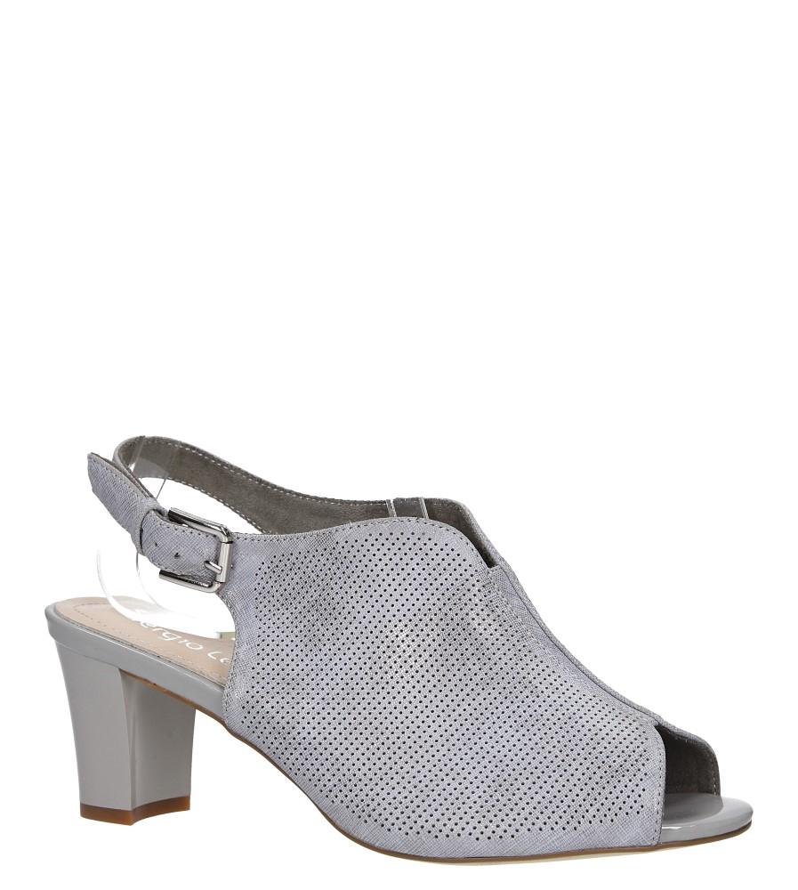 Szare sandały zabudowane błyszczące na słupku Sergio Leone SK800